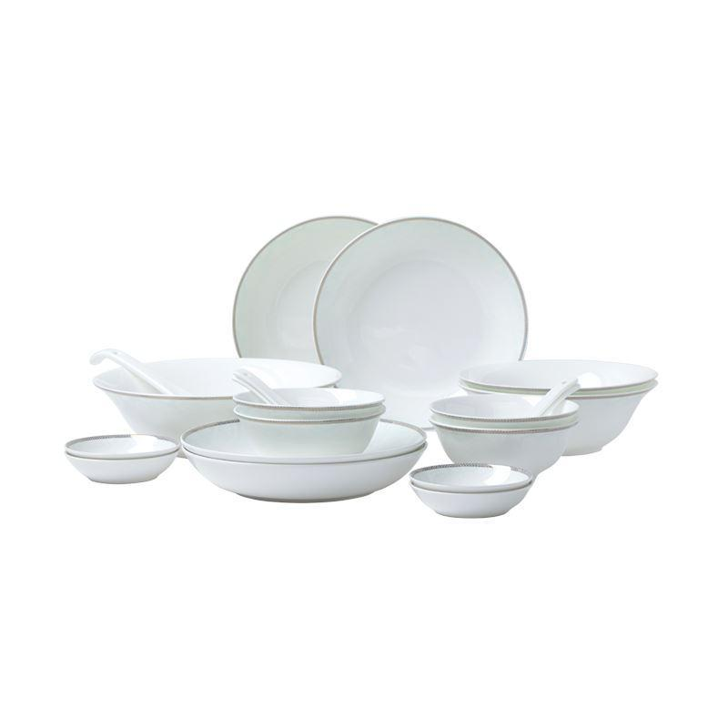 Bone China Embossed White and Gold Design Dinnerware Set for 4 or 8 Person Home & kitchen LIFEASE 20 sets