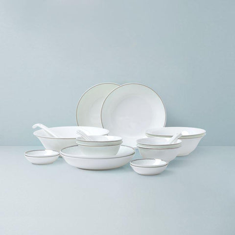 Bone China Embossed White and Gold Design Dinnerware Set for 4 or 8 Person Home & kitchen LIFEASE