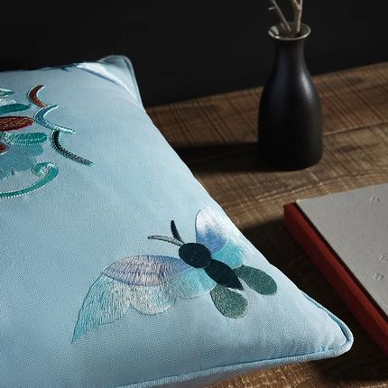 Butterfly Embroidered Pillowcase Home & kitchen LIFEASE
