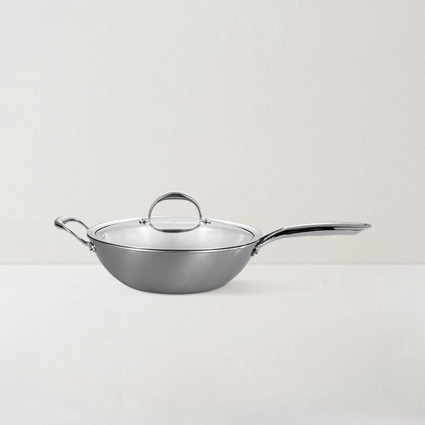 Spinning 3-layer Stainless Steel Wok 11.8 Inch