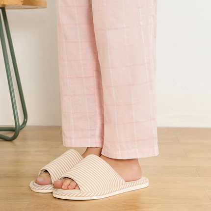 Step into Comfort, Refreshing Striped Linen Slippers