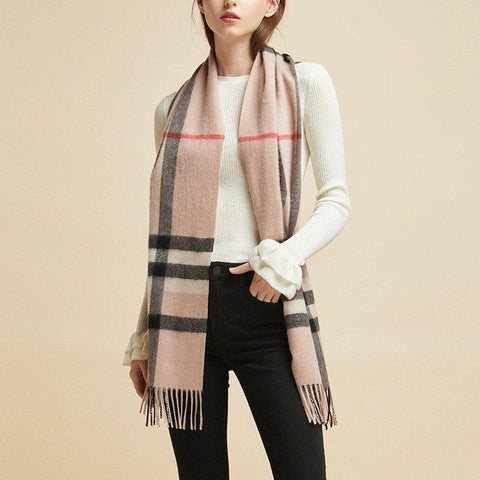 Classic Plaid Pure Cashmere Scarf Apparel shoe bag Lifease