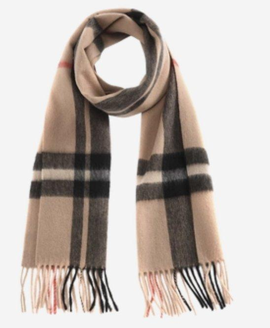 Classic Plaid Pure Cashmere Scarf Apparel shoe bag Lifease Camel