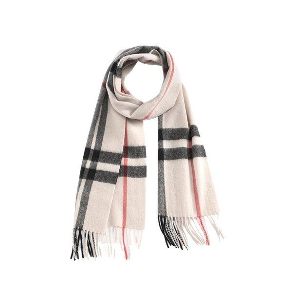 Classic Plaid Pure Cashmere Scarf Apparel shoe bag Lifease Ivory