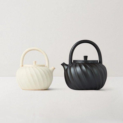 Clay Teapot Coated with Wave Design Home & kitchen LIFEASE