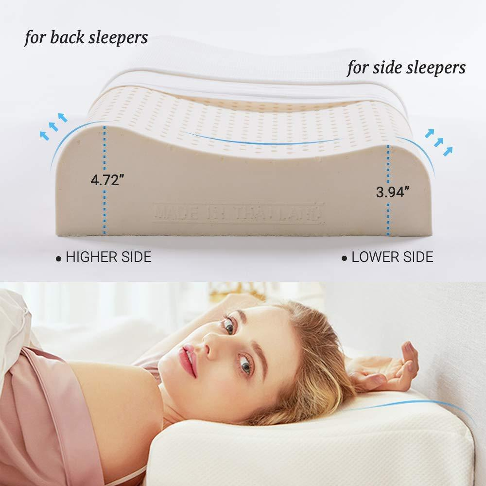 Contour Pillow for Sleeping, Thailand Natural Latex Pillow for Neck Pain Relief, Cool Cervical Pillow with Washable Pillowcase, Made in Thailand Home & kitchen Lifease