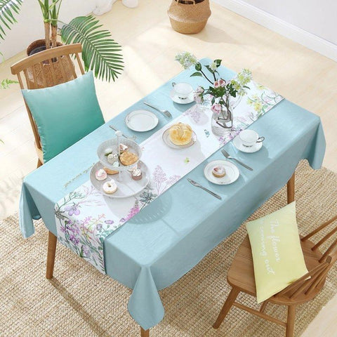 Cotton Floral Print Tablecloth Home & kitchen LIFEASE