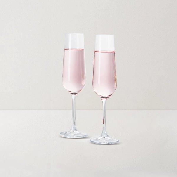 Crystal Champagne Glass 2 Sets [Made in Czech Republic] Home & kitchen LIFEASE