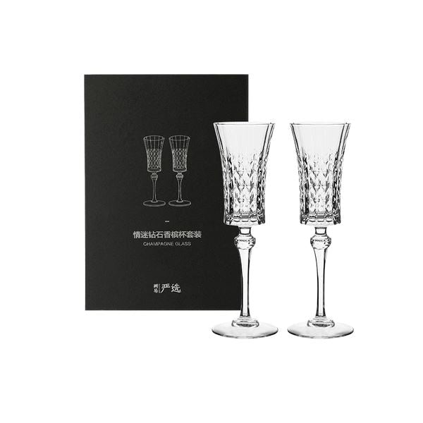 Crystal Glass Champagne Glasses (Set of 2) Home & kitchen LIFEASE Set of 2