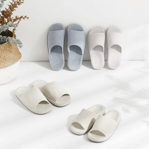 Japanese-Style Open Toe Home Slippers w/ Mini-Checkered Pattern, Natural Cotton & Linen, EVA Sole