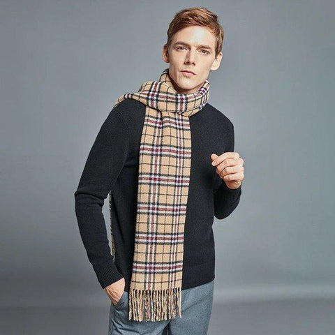 Double-sided 100% Wool Plaid Pattern Scarf - Unisex Apparel shoe bag LIFEASE
