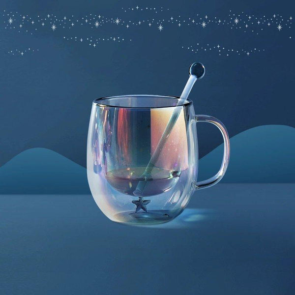 Double-walled Anti-scalding Glass Starry Theme Cup Home & kitchen LIFEASE