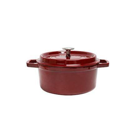 Enameled Cast Iron Pot 2.6-Qt Home & kitchen LIFEASE Red