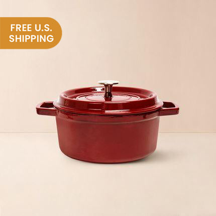 Enameled Red Cast Iron Pot 3-Qt Home & kitchen LIFEASE