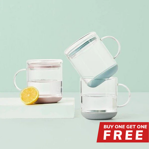 Buy 1 Get 1 Free - Buy 1 Heat-Resistant Glass Cup with Lid Get 1 Free