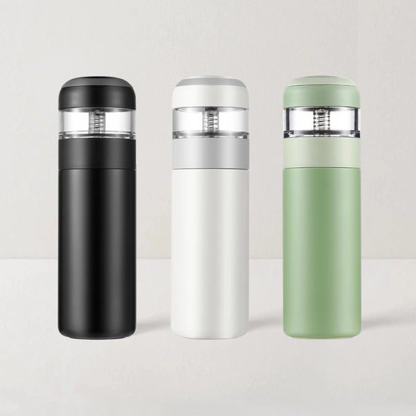 Insulated Tea Infuser Thermos 15.22oz (Black/White/Green)