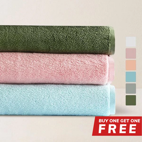 "Buy 1 Get 1 Free - Buy 1 Long Staple 100% Cotton Bath Towel 30.5"" x 59"" Get 1 Free"