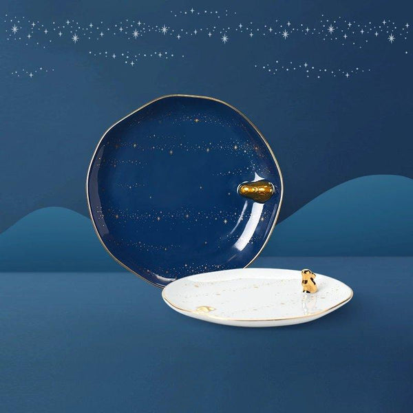 Galaxy Theme Moon Rabbit Dessert Plate Home & kitchen LIFEASE