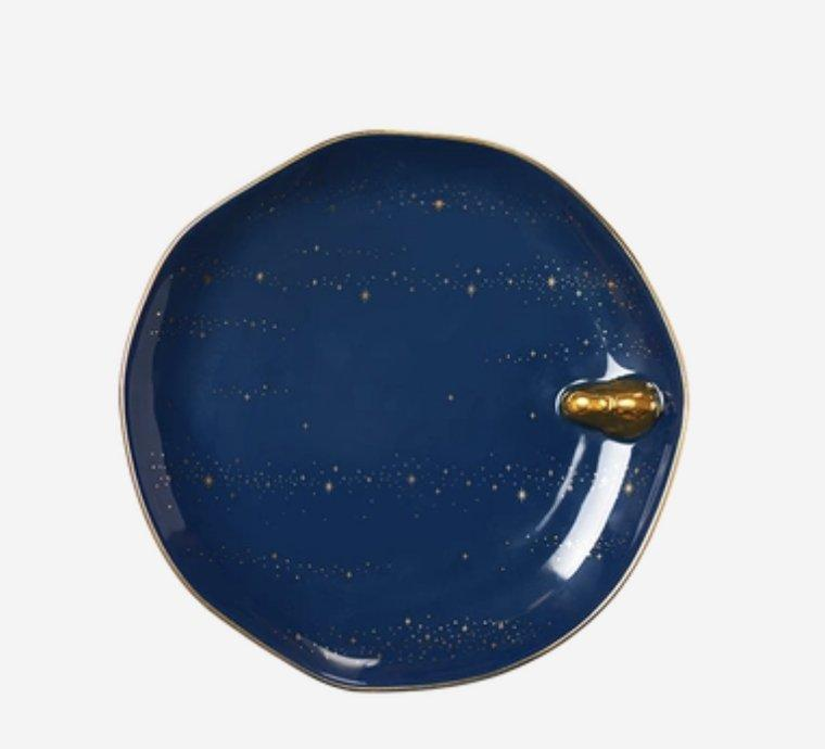 Galaxy Theme Moon Rabbit Dessert Plate Home & kitchen LIFEASE Blue Large