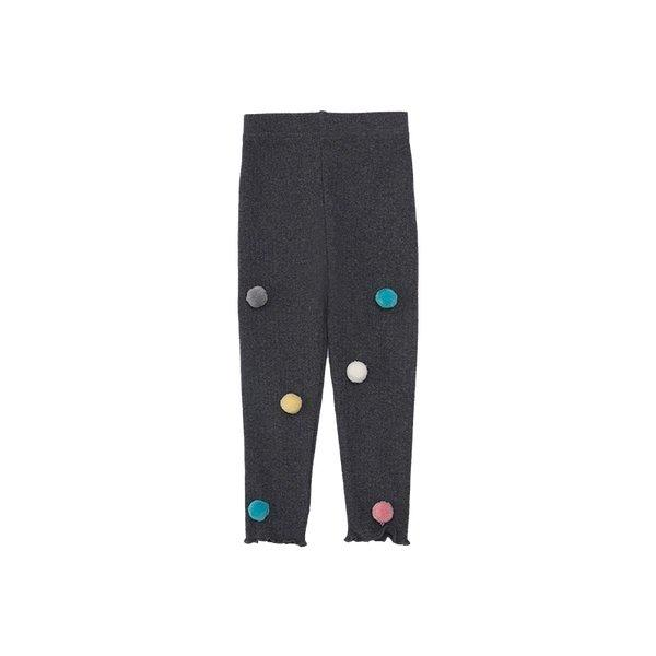 Girl's Leggings with Pom Pom for 1-8 Years Old Baby Care LIFEASE Dark Grey 2.62 feet