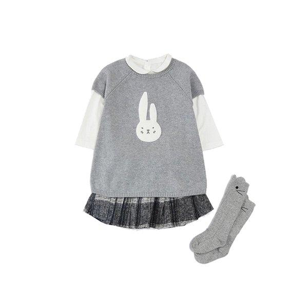Girl's Short Sleeves Knit Dress for 1-8 Years Old Baby Care LIFEASE