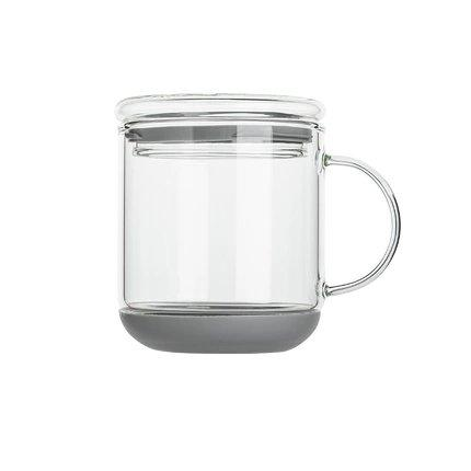 Heat-Resistant Glass Cup with Lid Home & kitchen LIFEASE Gray
