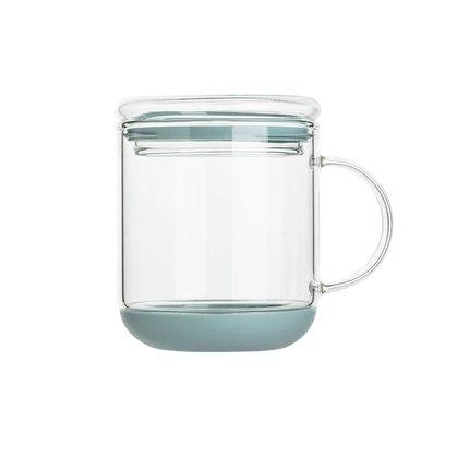 Heat-Resistant Glass Cup with Lid Home & kitchen LIFEASE Green