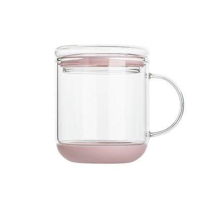 Heat-Resistant Glass Cup with Lid Home & kitchen LIFEASE Pink