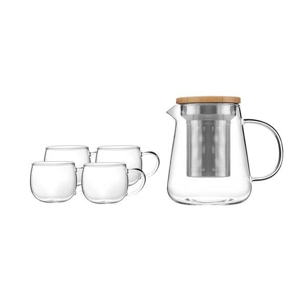 Heat Resistant Glass Transparent Tea Services Set Home & kitchen LIFEASE 1 pot (700ml) and 4 cups (100ml)