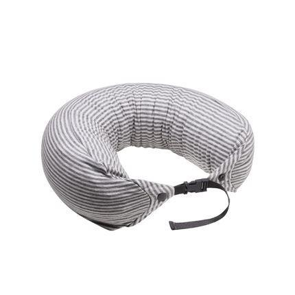Japanese Style Multi-function Neck Pillow Double Buckle Sports & Travel LIFEASE Grey/White (Stripes)