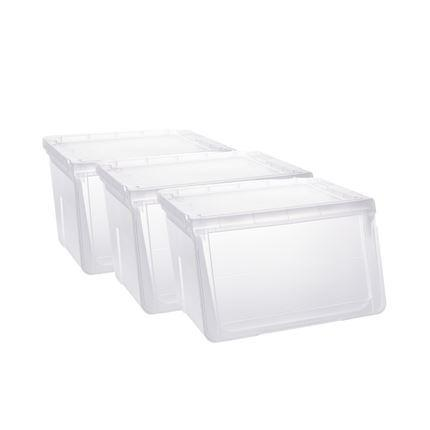 "Liter Storage Box, White Lid with Clear Base Home & kitchen LIFEASE 3-layer (18""x16""x9"") Small"