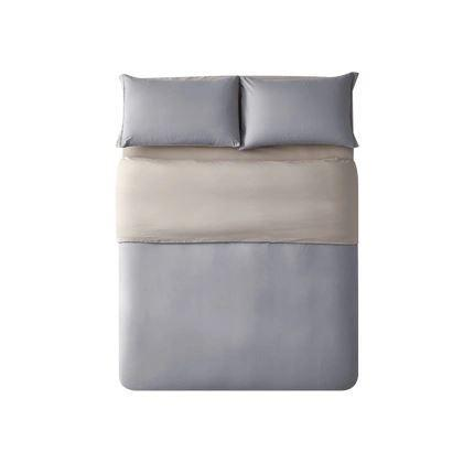"Long-Staple Cotton Sanding 4-Piece Bedding Set with Duvet Cover - Queen/King Home & kitchen LIFEASE Grey Queen (Fit comforter: 78.7""x91"")"