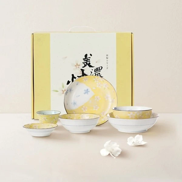 [Made in Japan] Mino Sakura Cherry Blossom Tableware Set 6pcs