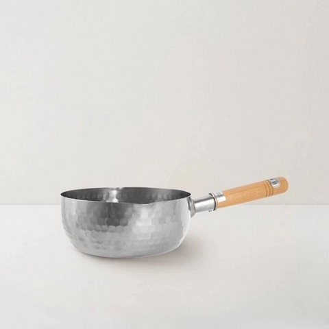 "【Use code:MEMORIAL28, Buy 2 Get 20% off】[Made In Japan] Traditional Japanese Yukihira Saucepan Stainless Steel Cooking Pot w/ Wooden Handle - 8"" One/Set of Two"