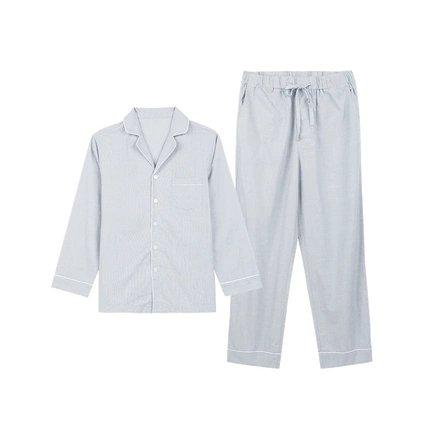 Men's 100% Cotton Pajama Set Apparel shoe bag LIFEASE Grey M
