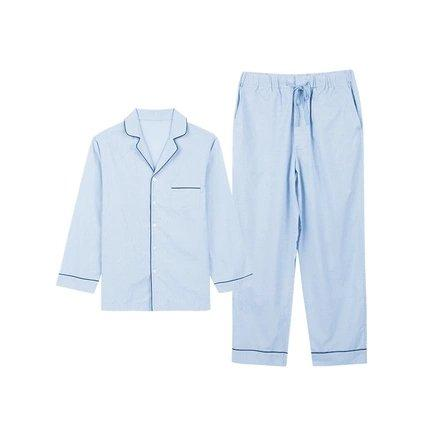 Men's 100% Cotton Pajama Set Apparel shoe bag LIFEASE Light Blue M