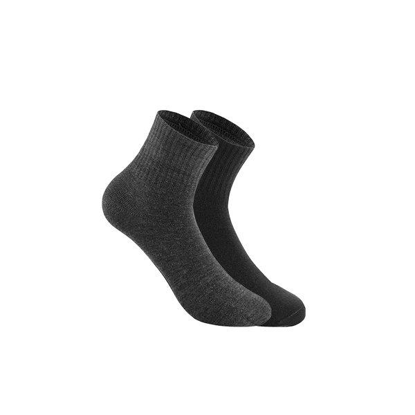 Men's 100% Wool Stretchy Medium-high Socks (3 pairs) Apparel shoe bag LIFEASE Black+Grey (one of each)