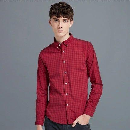 Men's Classic Plaid Long-Sleeve Button Down Shirt Apparel shoe bag LIFEASE