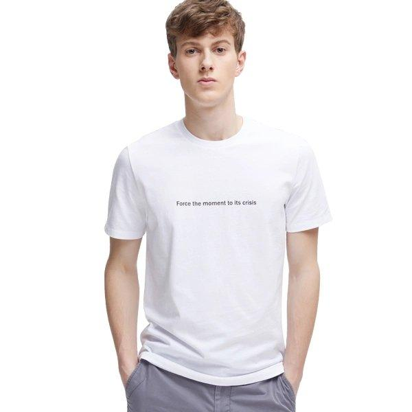 Men's Combed Cotton Letter Print T-Shirt Apparel shoe bag LIFEASE