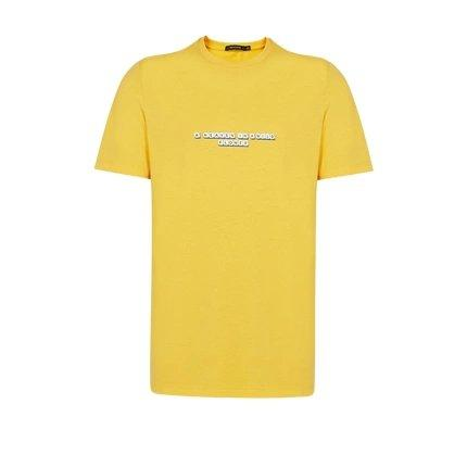 Men's Combed Cotton Letter Print T-Shirt Apparel shoe bag LIFEASE Yellow XL
