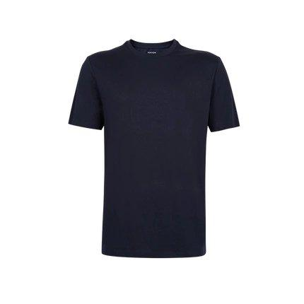 Men's Combed Cotton Round Neck T-Shirt Apparel shoe bag LIFEASE Navy M