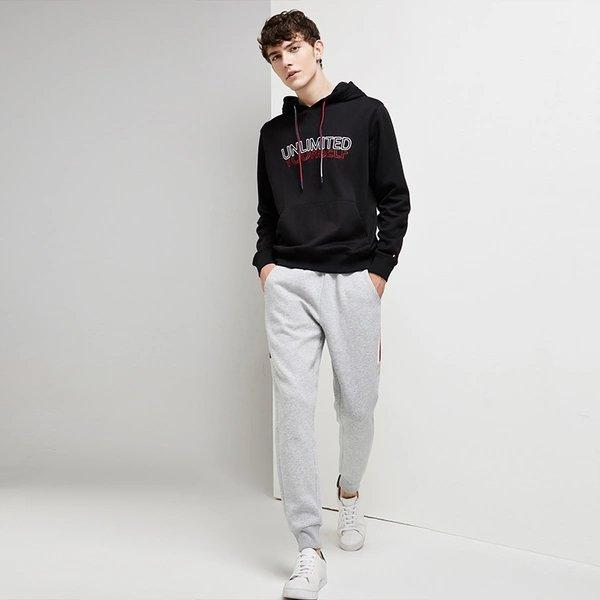 Men's Hooded Sweatshirt with Printed Letter Apparel shoe bag LIFEASE