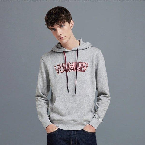 Men's Hooded Sweatshirt with Printed Letter Apparel shoe bag LIFEASE Grey M
