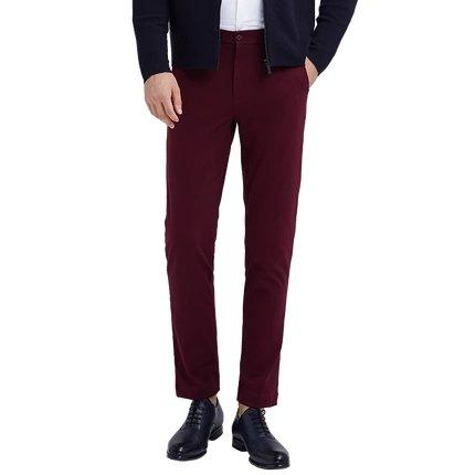 Men's Knitted Iron-Free Business Pants Apparel shoe bag LIFEASE Maroon S