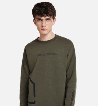 Men's Letter Pullover Sweater Apparel shoe bag LIFEASE Army Green S