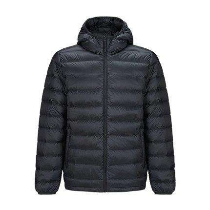 Men's Lightweight Slim-fit Down Jacket Holiday special LIFEASE Black S With cap