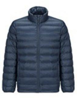 Men's Lightweight Slim-fit Down Jacket Holiday special LIFEASE Blue Grey S Stand Collar