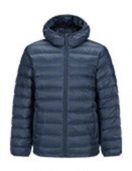 Men's Lightweight Slim-fit Down Jacket Holiday special LIFEASE Blue Grey S With cap
