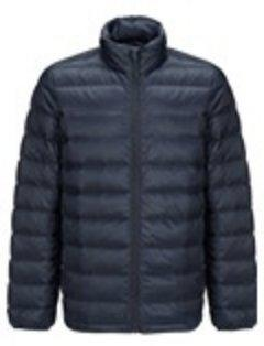 Men's Lightweight Slim-fit Down Jacket Holiday special LIFEASE Navy S Stand Collar