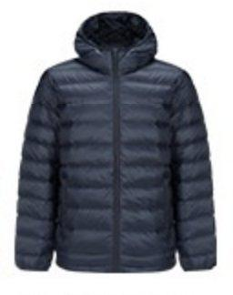 Men's Lightweight Slim-fit Down Jacket Holiday special LIFEASE Navy S With cap